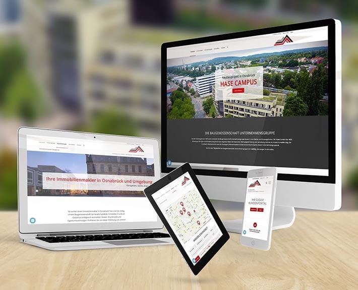 Responsive WebdesignDesign Osnabrück Baugenossenschaft LKOS