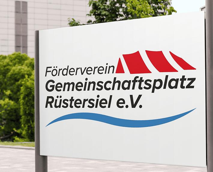 Gemeinschaftsplatz Rüstersiel Logo Stele gestalten lassen Osnabrück