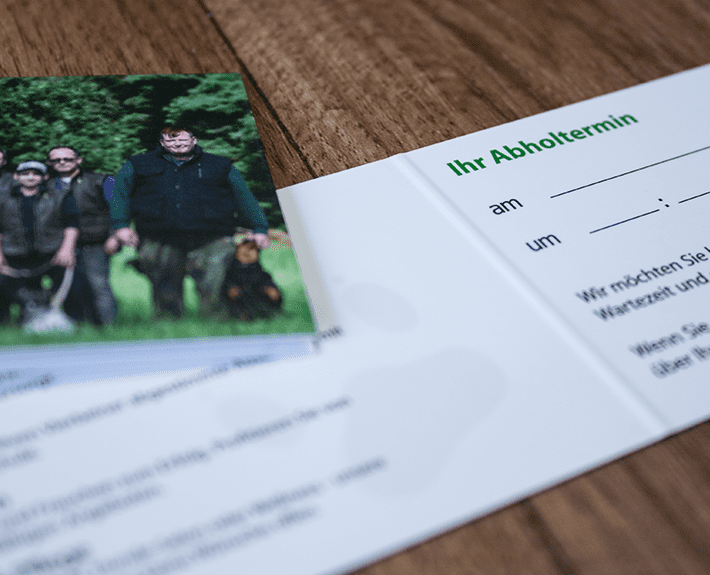Hundeinternat Terminkarte drucken lassen Osnabrück