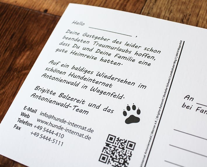 Hundeinternat Dankeskarte Treuekarte Osnabrück