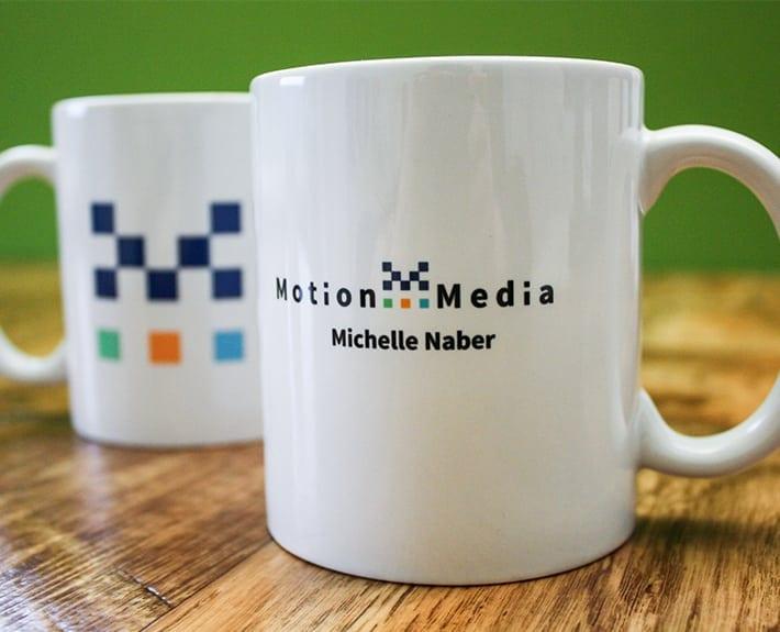 Motion Media Logo Corporate Design Tassen bedrucken lassen