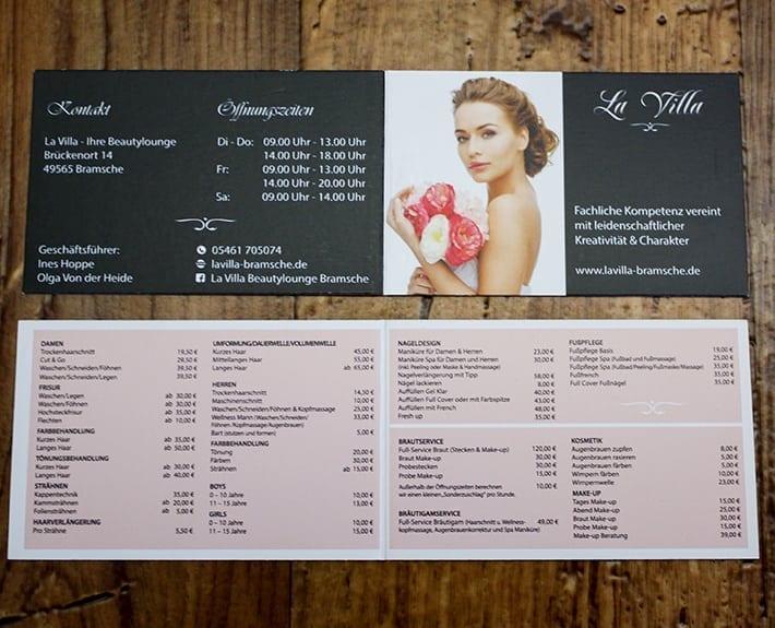 Preiskarte Flyergestaltung Osnabrück La Villa