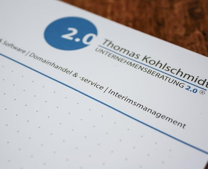 Unternehmensberatung 2.0 Schreibblock Gestaltung Osnabrück