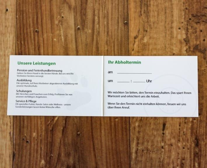 Dankeskarte Treuekarte Osnabrück Hundeinternat Antonienwald