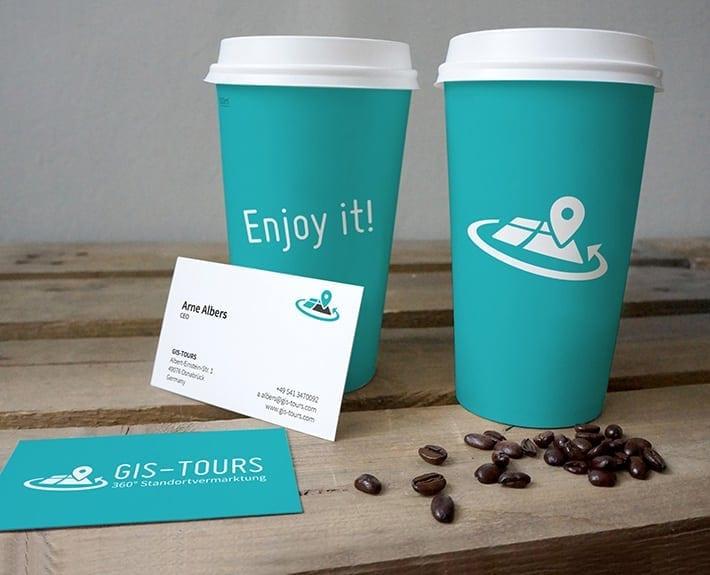 Kaffebecher bedrucken Osnabrück Visitenkarten GIS Tours