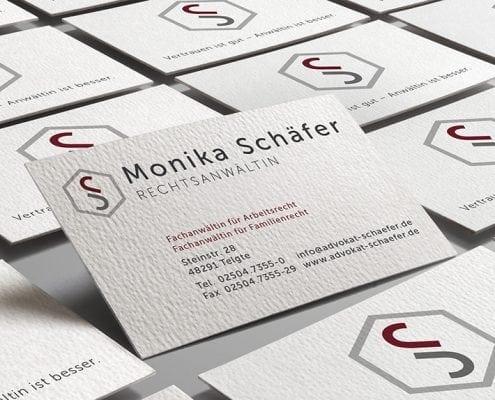 Monika Schäfer Logo Visitenkarte Geschäftsaustattung Osnabrück