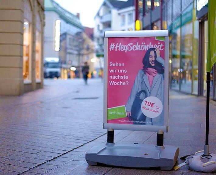 freshnails Kundenstopper Plakatwerbung Osnabrück