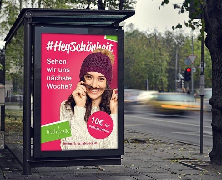 Plakatwand Plakatwerbung Außenwerbung Freshnails Osnabrück