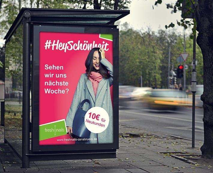 Plakatwerbung Außenwerbung Plakatwand Freshnails Osnabrück