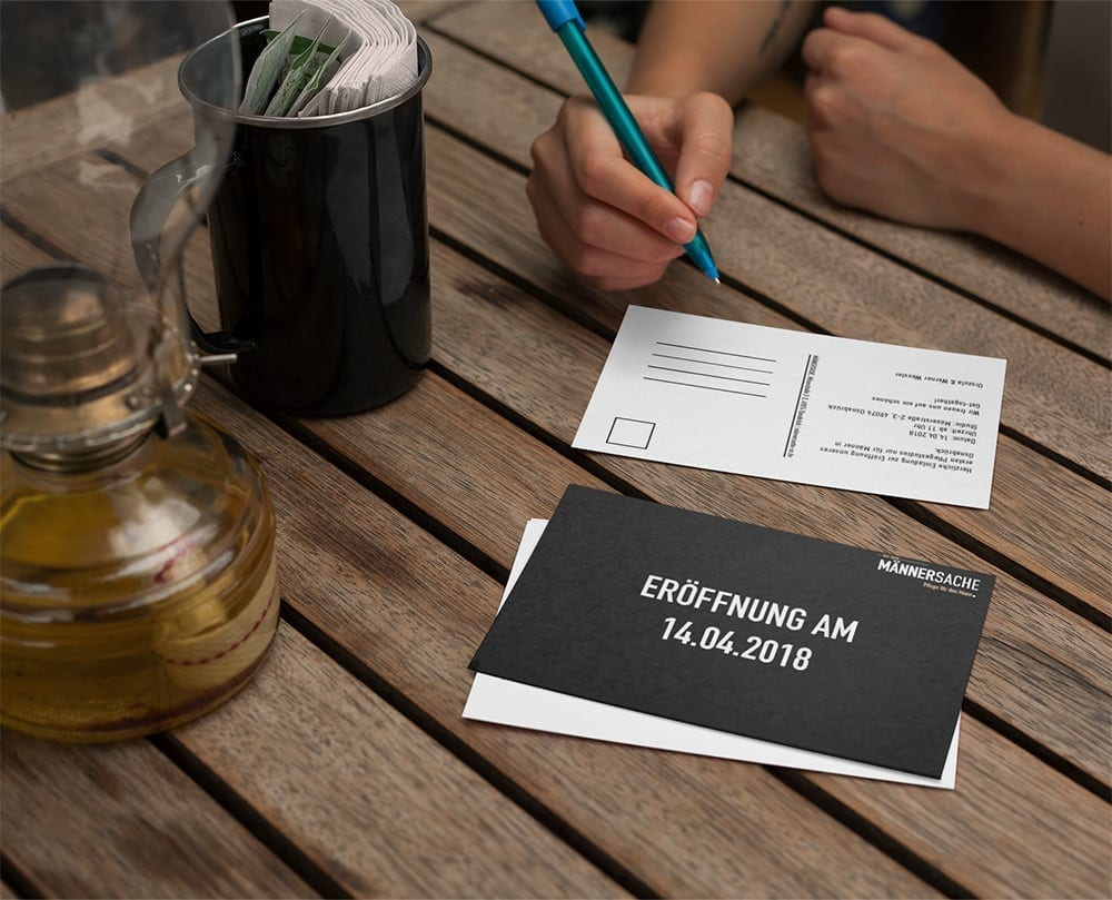 Postkarte Einladung Druck Männersache Osnabrück
