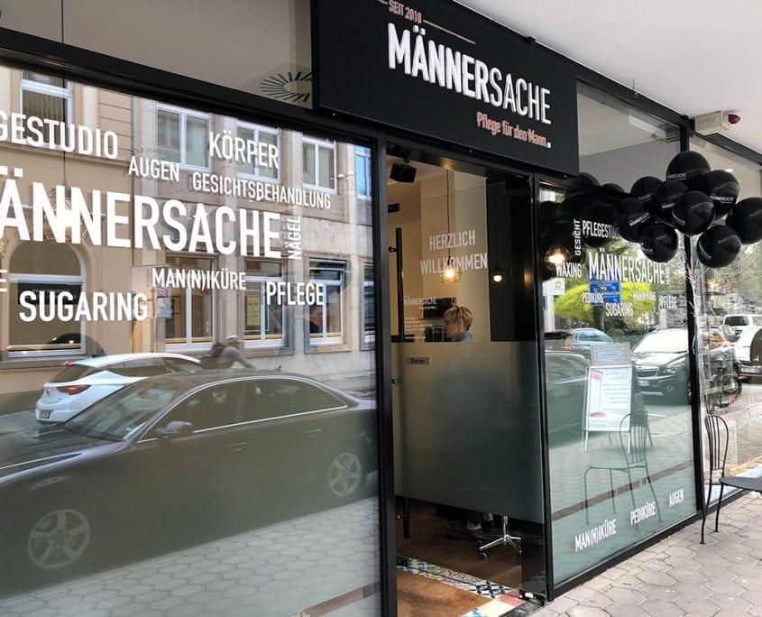 Schaufensterbeschriftung Männersache Osnabrück