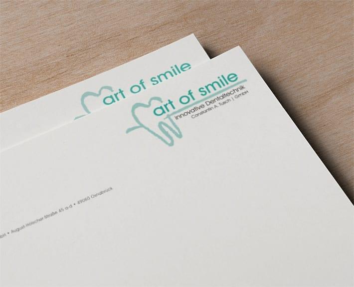 Briefpapier Geschäftsausstattung art of smile