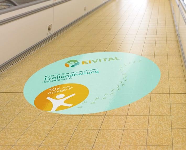 Aufkleber Kundenstopper Boden EiVita