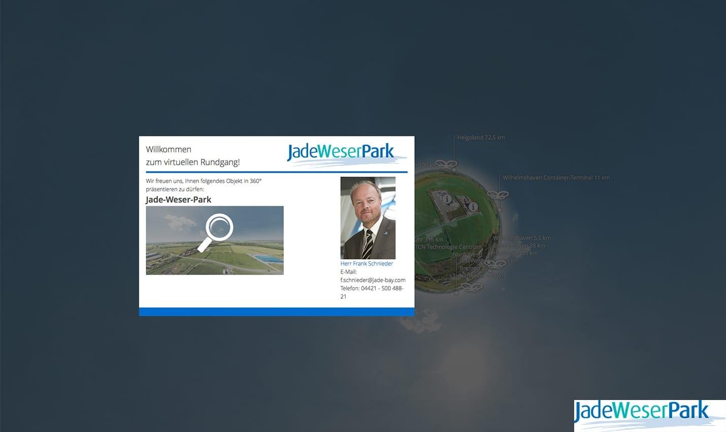 Virtuelle Tour Jade-Weser Park 360 Willkommensdialog