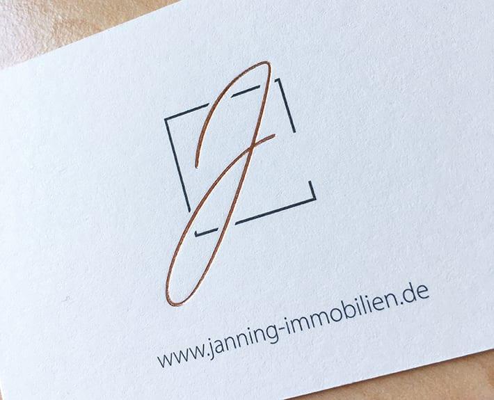 Geschäftsausstattung Visitenkarten Kontaktdaten Janning Immobilien