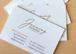 Visitenkarten Kontaktdaten Janning Immobilien