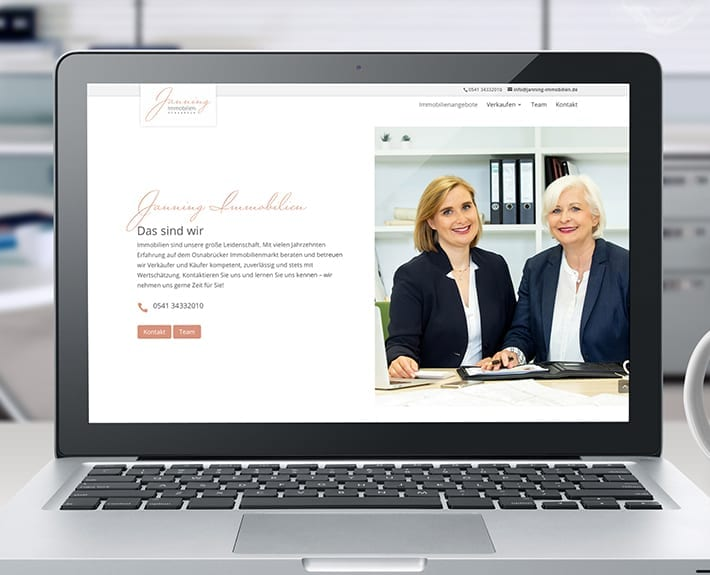 Webdesign Laptop Jannning immobilien