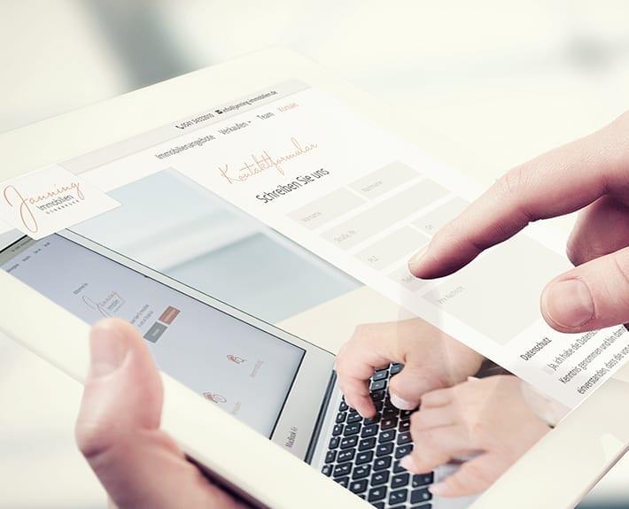 Webseite Responsive Design Tablet Jannning immobilien