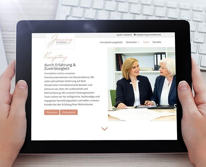 Responsive Design Tablet Jannning immobilien
