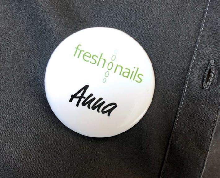 Namensschilder Buttons Freshnails Osnabrück