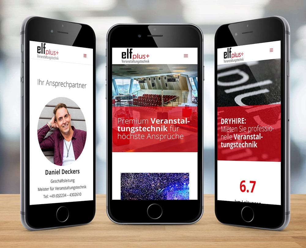Responsive Design Mobiledesign Veranstaltungstechnik Elfplus Motion Media Webdesign Osnabrück