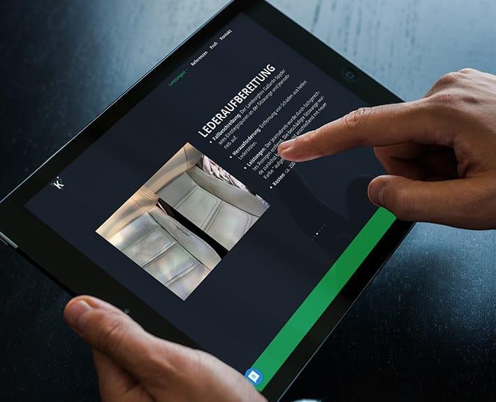 Webseite Tablet Keppler Premium Fahrzeugaufbereitung