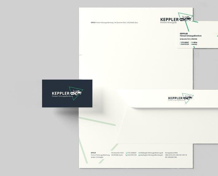Geschäftsausstattung Briefpapier, Briefumschlag & Visitenkarten Keppler Premium Fahrzeugaufbereitung