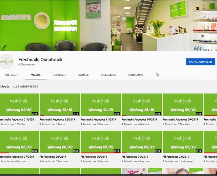 Social Media Marketing YouTube Kanal Freshnails Osnabrück