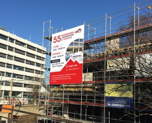 Baugrüst Banner BGLO Hase Campus Neubau Osnabrück