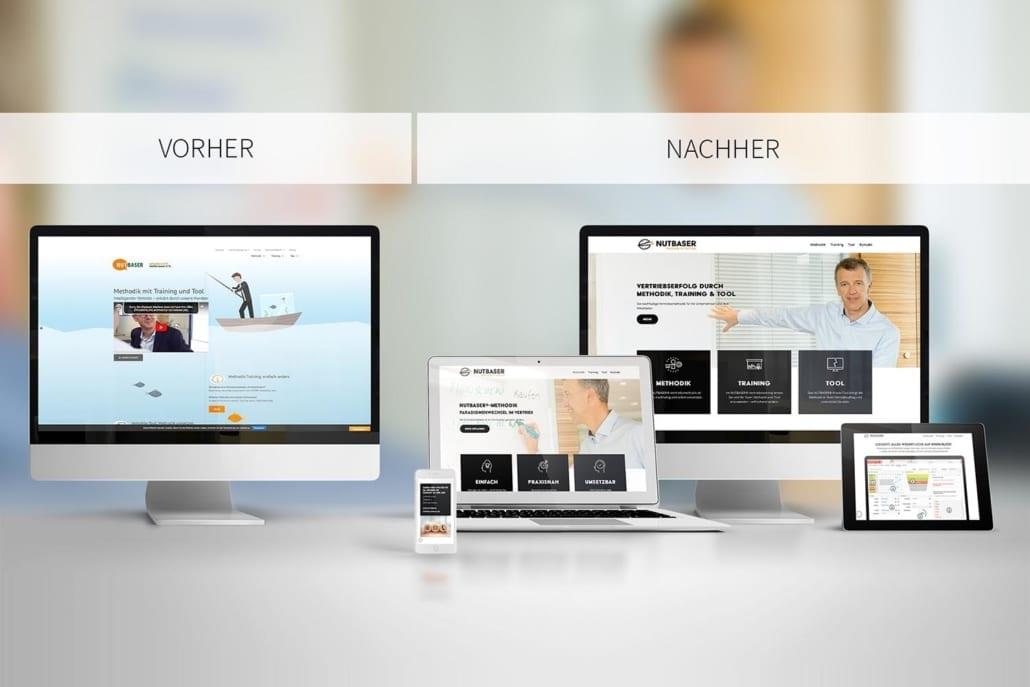 Webseite Nutbaser Vergleich Relaunch