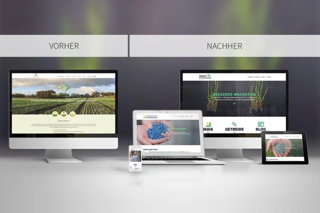 Webseite SeedForward Vergleich Relaunch